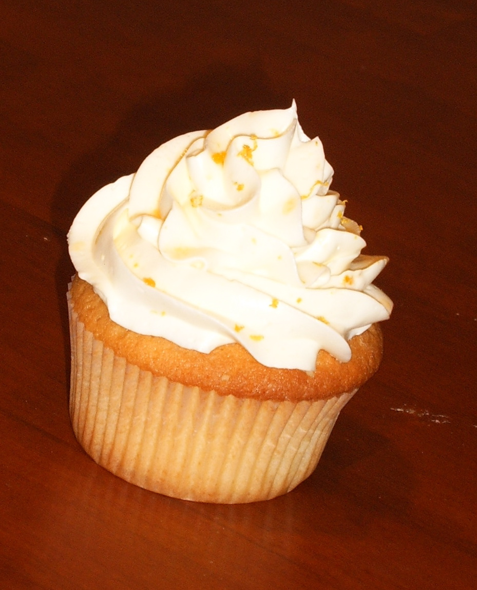 White Chocolate Tangerine Cupcake.